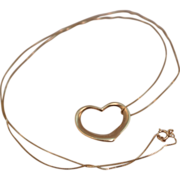 SALE 10K Yellow Gold Floating Heart Pendant on 18 inch 10K Fine Singapore Chain Necklace