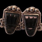 1930s Carved Obsidian Face Sterling Silver Screwback Earrings