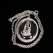 SALE Avon Silver Tone Glass Intaglio Necklace