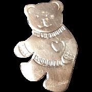 Large Sterling Silver Teddy Bear Brooch