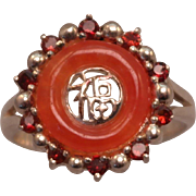 SALE Sterling Silver Red Jade and Round Garnet Halo Chinese Symbol Ring size 8.25