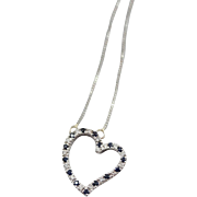 14K White Gold Diamond and Sapphire Heart Necklace 22 inches Long