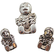 Sterling Silver Carol Felley Navajo Story Teller Pendant / Pin and Earring Set