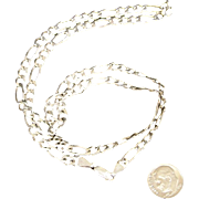 "Solid 20 Gram Italian Sterling Silver Figaro 3/16"" Wide 24 inch Long Chain"