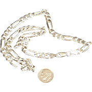 Solid 27 Gram Italian Sterling Silver Figaro 1/4 inch Wide 18.25 inch Long Chain