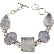 Crackly Clear Stone Silvertone 8.25 inch Bracelet