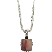 Sterling Silver Agate and Chrysoprase Pendant on 20 inch Braided Sterling Chain