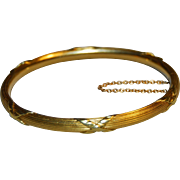 French Victorian 18k Gold Bangle Bracelet