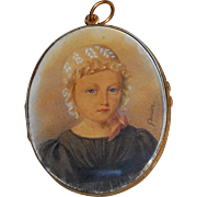 Georgian French portrait miniature of a Young Girl in 18k gold frame with Hair Signed Gomien