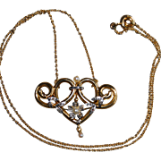 French Art Nouveau 18k Gold Pendant Necklace Rose Diamonds & Pearls