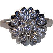 French Retro Vintage 1950' 18k Gold Sapphire & Diamond Ring
