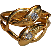 Art Deco French 18k Gold Double Snake 2 Diamonds Ring Unisex