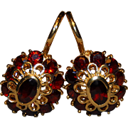 Vintage French 18k Gold & Garnet Leverback Dormeuse Earrings