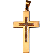 Antique Victorian French 18k Rose Gold & Seed Pearl Cross Pendant