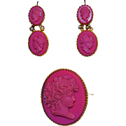 Vintage Pink Pressed Glass Cameo Earrings  & Brooch Demi Parure