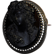 Spectacular Vintage Black Pressed Glass Cameo Brooch Bacchante