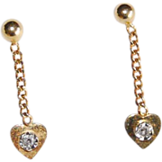 SALE Vintage 18 k Gold diamonds Drop Heart Shape Earrings