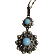 SALE Antique Silver Filigree Turquoise Glass Beads  Pendant Necklace + Chain
