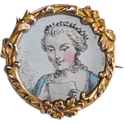 Antique French Gold Filled FIX Photo / Picture Brooch Pin
