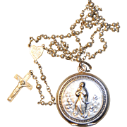 Antique French Miniature Rosary in Locket  Case, Virgin Mary Surrounded by Angels