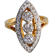 French Victorian Diamond / Navette / Marquise Ring 18K Gold