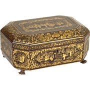 Chinese gilt decorated sewing box