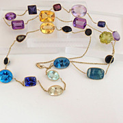 SOLD 14k Gold Iolite,Tanzanite, Prasiolite, Multi Gemstone Open Back Bezel Set Necklace