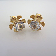 Stunning Art Deco Vintage 10k Yellow Gold Crystal Stud Earrings