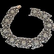 Sterling Silver and 9k Gold Antique Victorian Paste Crystal Bracelet
