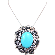 Vintage Hand Crafted Huge Turquoise Sterling Silver Pendant Brooch Pin Necklace