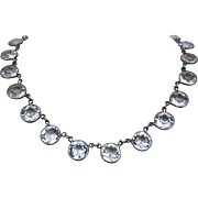 Art Deco Sterling Silver Crystal Open Back Bezel Set Necklace
