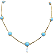 SOLD Art Deco 14K Gold Persian Turquoise Gemstone Pearl Drop Necklace