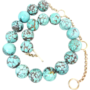 SOLD Chinese Old Natural Turquoise 14k Yellow Gold Beaded Necklace Heavy 166 Grams Hallmarked