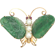 Art Deco 14K Carved Jadeite Cultured Pearl and Ruby Butterfly Brooch Pin Hallmarked Hong Kong