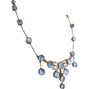 Antique Edwardian Sterling Silver Moonstone Hand Crafted Festoon Necklace