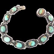 SOLD Art Deco Sterling Silver Turquoise Bezel Set Bracelet