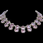 SOLD Art Deco Vintage Sterling Silver Japan Crystal Alexandrite Glass Necklace