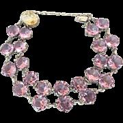 SOLD Art Deco Vintage Sterling Silver Japan Crystal Alexandrite Glass Bracelet