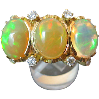 SALE Rare 18k Gold BUCCELLATI Mexican Opal Diamond Ring Includes Certified Appraisal