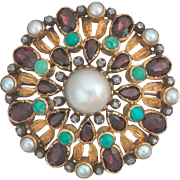 Antique French 18k Gold Diamond Garnet Turquoise and Pearl Brooch Pin
