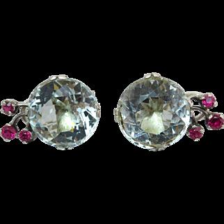 Antique Rare 41 carats Aquamarine Gemstone Sterling Silver Earrings