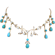 Antique Victorian European 18K Gold Persian Turquoise Rock Crystal Cultured Pearl Festoon Neck
