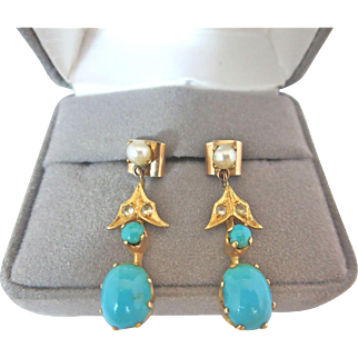 Antique Victorian European 18k Gold Persian Turquoise Rock Crystal Cultured Pearl Earrings