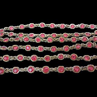 Art Deco Open Back Czech Paste Crystal Bezel Set Necklace