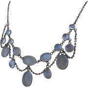 Antique Victorian Silver Moonstone Open Back Bezel Set Festoon Swag Necklace