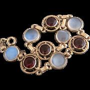 SALE PENDING Retro 14K Gold Moonstone and Garnet Open Back Bezel Set Bracelet