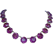 Antique Hallmarked Riviere Amethyst Crystal Glass Open Back Necklace