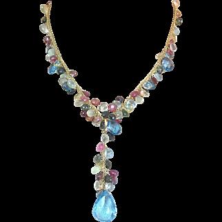 18K Gold Briolette Aquamarine , Tourmaline , Topaz , Citrine , Peridot Multi Gemstone Lavaliere Pendant Necklace