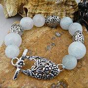 Handmade Sterling Silver Filigree and Natural Aquamarine Bracelet