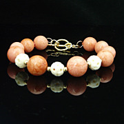 Sponge Coral, Carved Bone and 14KT Gold-Filled Beaded Bracelet